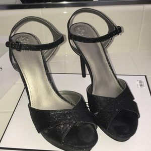Black glitter GUESS heels